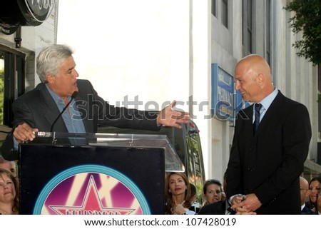 Jay Leno and Howie Mandel  at the Hollywood Walk of Fame Ceremony honoring Howie Mandel. Hollywood Boulevard, Hollywood, CA. 09-04-08 - stock photo