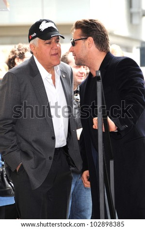 Jay Leno and Russell Crowe  at the Russell Crowe star ceremony into the Hollywood Walk of Fame, Hollywood, CA 04-12-10 - stock photo