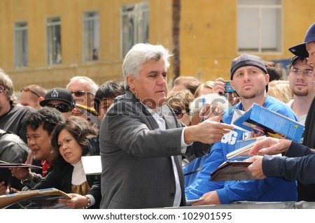 Jay Leno  at the Russell Crowe star ceremony into the Hollywood Walk of Fame, Hollywood, CA 04-12-10 - stock photo