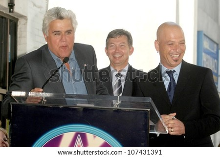 Jay Leno with Leron Gubler and Howie Mandel  at the Hollywood Walk of Fame Ceremony honoring Howie Mandel. Hollywood Boulevard, Hollywood, CA. 09-04-08 - stock photo