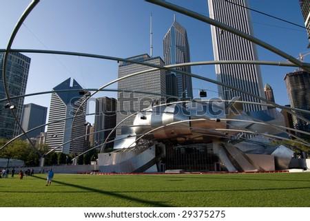 Jay Pritzker Pavilion in Millennium park, Chicago - stock photo