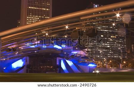 Jay Pritzker Pavilion in Millennium park, Chicago, Illinois - stock photo