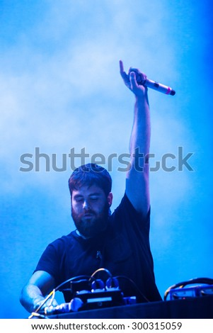 JAZ, MONTENEGRO - JULY 16 2015: RUDIMENTAL DJ performs at SEA DANCE Music Festival - EXIT ADVENTURE, on July 16, 2015 at the Jaz beach near Budva, Montenegro. - stock photo