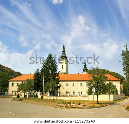 Jazak Monastery (Serbian: Manastir Jazak), Serb Orthodox monastery on the Fruska  Gora mountain in the northern Serbia, in the province of Vojvodina. The monastery was founded in 1736. - stock photo