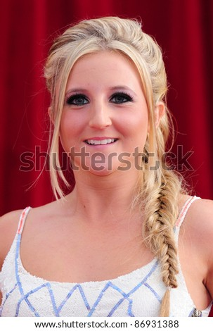 Jazmine Franks arrives for the 2011 Soap Awards held at Granada Studios in Manchester. 14/05/2011. Picture by Simon Burchell/Featureflash - stock photo