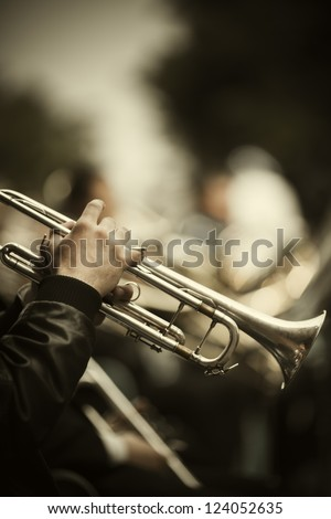 jazz band playing on the street - stock photo