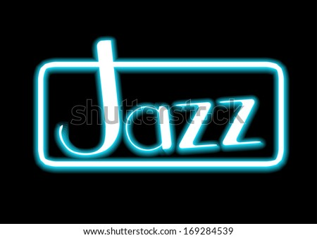 Jazz blue neon on black background
