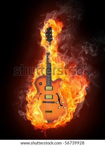Jazz guitar in fire flames isolated on black background.