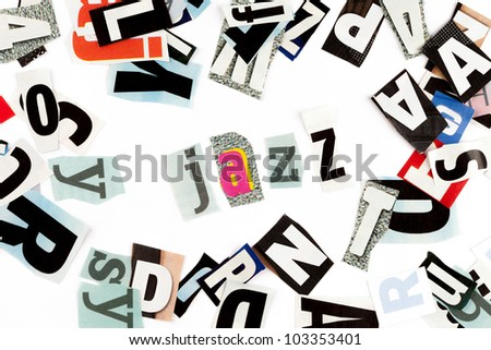 Jazz inscription made with cut out letters - stock photo