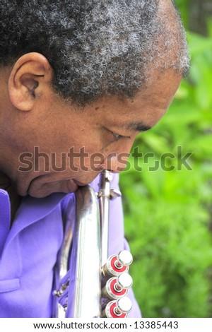 Jazz musician reflecting on his music performance. - stock photo