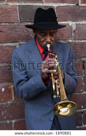 Jazz Player with Trumpet - stock photo