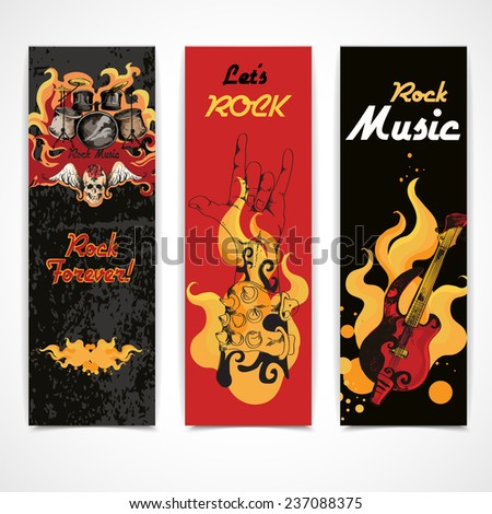 Jazz rock music festival concert banners set with electric guitar drums cymbals flames abstract isolated   illustration - stock photo