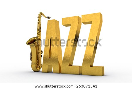 Jazz Text Sign with Saxophone - stock photo