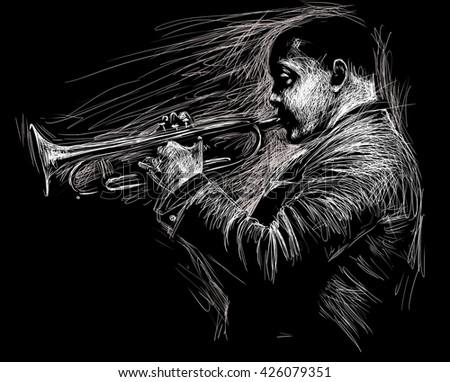 Jazz trumpet player, black and white illustration - stock photo