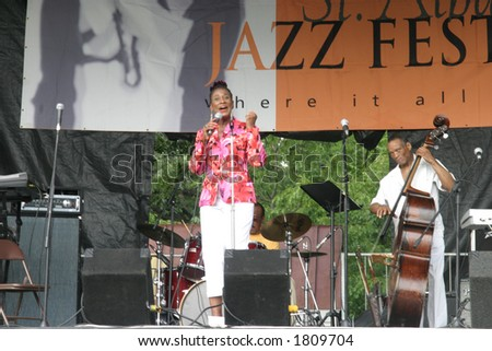 Jazz Vocalist Veronica Horne performing on stage at a Jazz Festival - stock photo