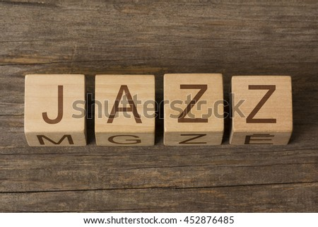 JAZZ word on wooden cubes - stock photo