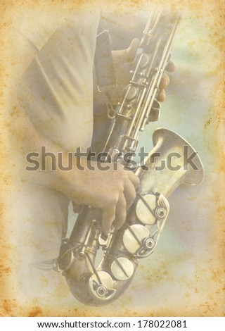 Jazzmen playing the saxophone. Jazz musician with your musical instrument on grunge texture background. Grunge musical background with old page and a saxophone. - stock photo
