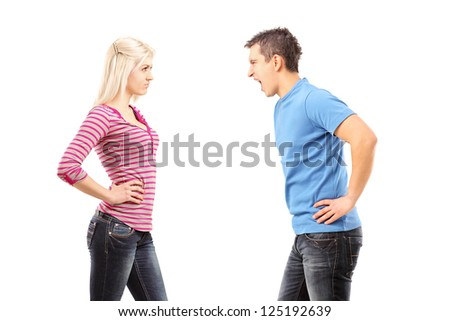 Jealous man shouting at a woman isolated on white background - stock photo