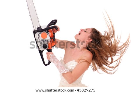 jealous woman with saw isolated on white - stock photo