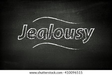 Jealousy written on blackboard - stock photo