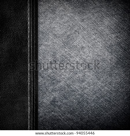 jean and leather background - stock photo