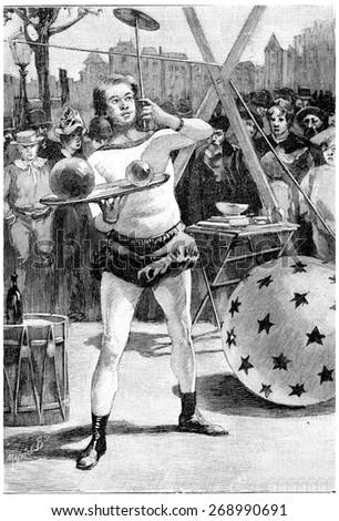 Jean Cascabel, vintage engraved illustration. Jules Verne Cesar Cascabel, 1890. - stock photo