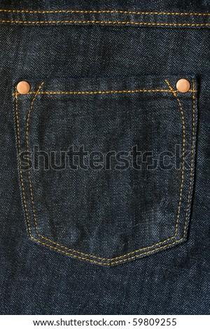 Jean cloth - close-up of a hip pocket - stock photo