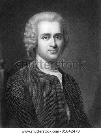 Jean-Jacques Rousseau (1712-1778). Engraved by R.Hart and published in The Gallery Of Portraits With Memoirs encyclopedia, United Kingdom, 1833. - stock photo