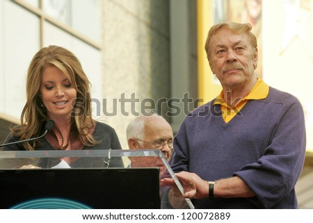 Jeanie Buss and Jerry Buss at the Ceremony Honoring Los Angeles Lakers Owner Jerry Buss with the 2,323rd star on the Hollywood Walk of Fame. Hollywood Boulevard, Hollywood, CA. 10-30-06 - stock photo