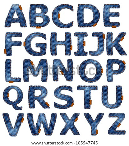 Jeans alphabet isolated. Vector format available in portfolio. - stock photo