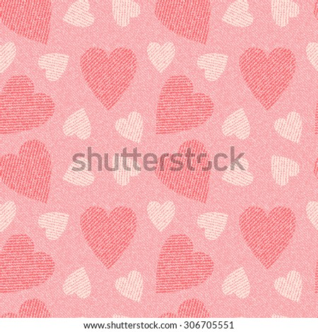 Jeans background with hearts. Denim seamless pattern. Pink jeans cloth. Valentine's Day wallpaper.