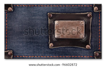 jeans business card for your design. isolated on a white background - stock photo