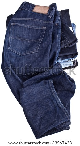 Jeans, completely isolated on white - stock photo