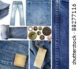 Jeans elements collection. Including close up textures, pants, buttons, rivets, labels. - stock photo