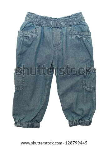 jeans for little girls  isolated on white - stock photo