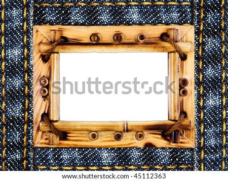 jeans frame isolated on white - stock photo