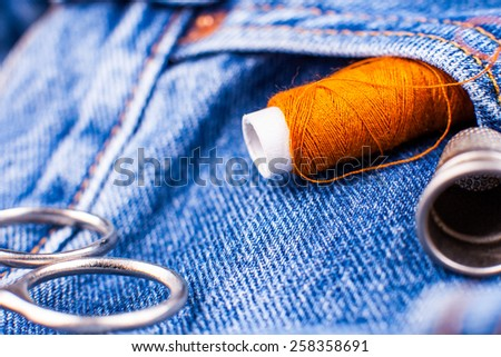 jeans indigo seam - stock photo