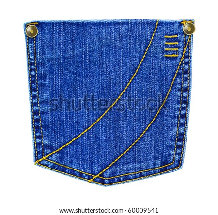 Jeans pocket isolated on white background - stock photo