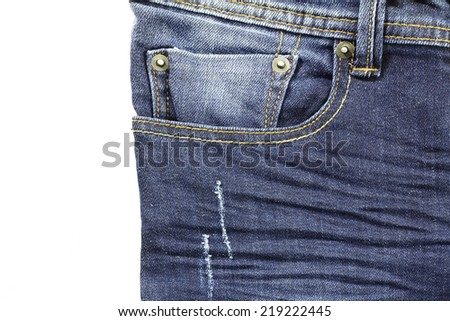 jeans pocket on isolate