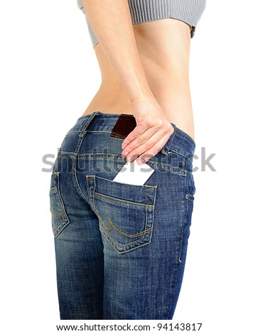 Jeans pocket with empty label isolated on white background - stock photo