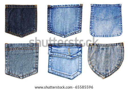 jeans pockets isolated - stock photo