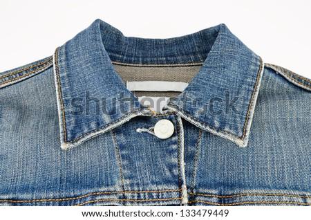 Jeans shirt collar close up - stock photo