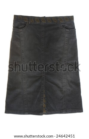 jeans skirt isolated on white