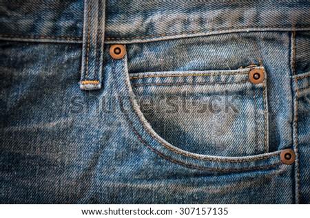 jeans texture, jeans pocket - stock photo