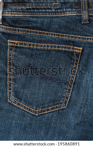 Jeans Texture - the back pocket - stock photo