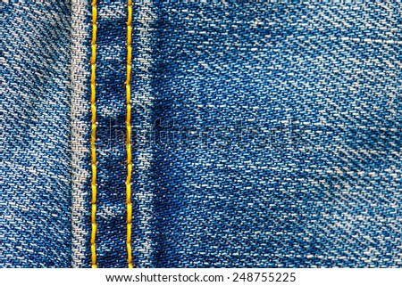 Jeans texture with seams, close up - stock photo