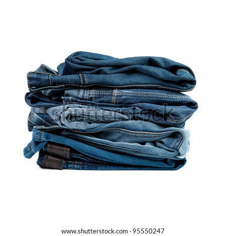 Jeans things stacked stack. Isolated on white background