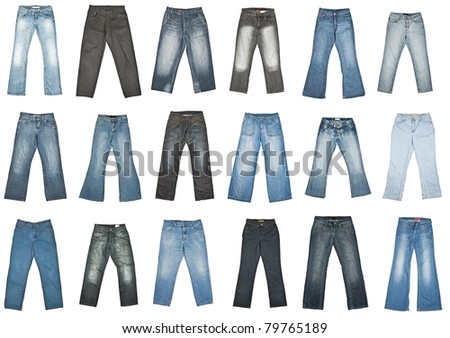 Jeans trousers collection, isolated on white. - stock photo