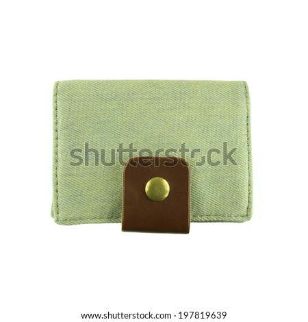 jeans Wallet on a white background, with clipping path - stock photo