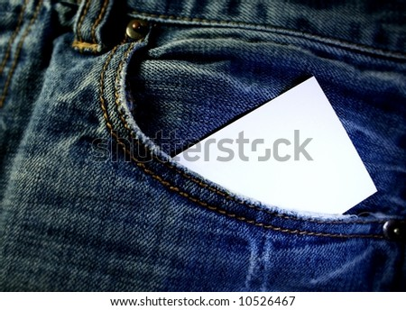 jeans with business card in pocket - stock photo